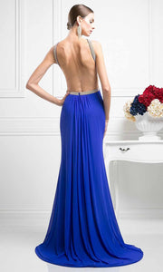 Cinderella Divine - KD019 Beaded Halter Dress In Blue