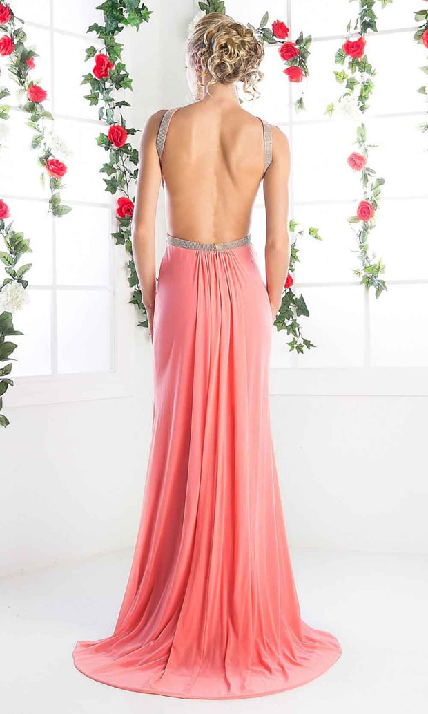 Cinderella Divine - KD019 Beaded Halter Dress In Pink