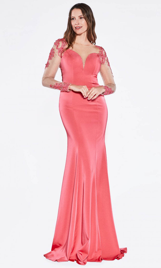Cinderella Divine - KD038 Embroidered Trumpet Dress In Pink