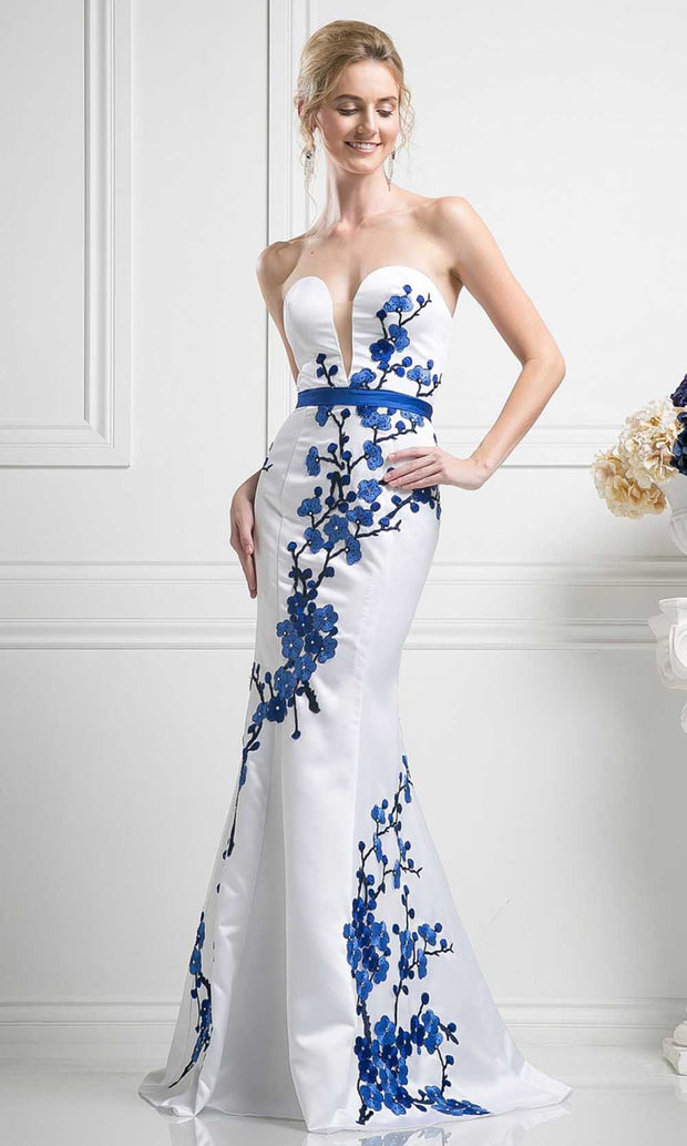 Cinderella Divine - KD052 Floral Embroidered Gown In White
