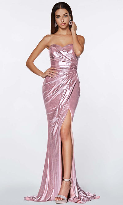 Cinderella Divine - KV1036 Fitted Metallic Gown In Purple