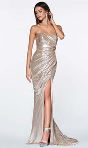 Cinderella Divine - KV1036 Fitted Metallic Gown In Champagne