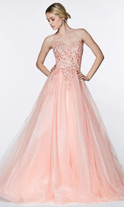 Cinderella Divine - KV1037 Beaded Tulle A-Line Gown In Pink