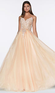 Cinderella Divine - KV1037 Beaded Tulle A-Line Gown In Champagne