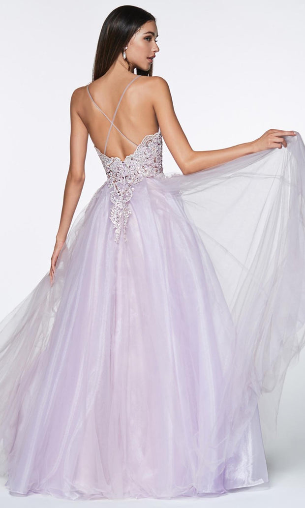 Cinderella Divine - KV1037 Beaded Tulle A-Line Gown In Purple