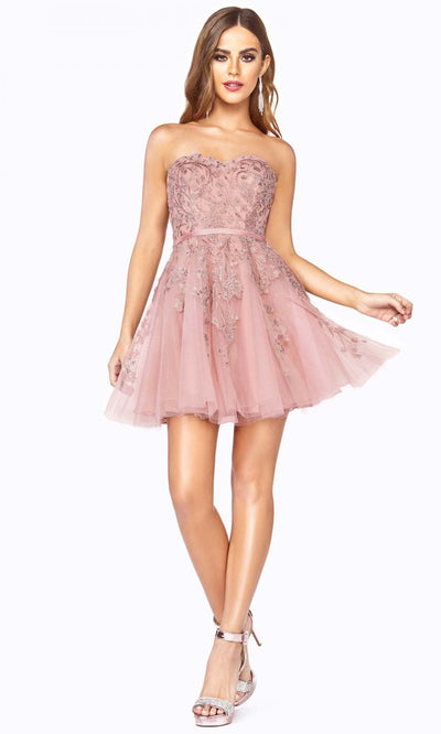 Cinderella Divine - KV1048 Strapless Beaded Cocktail Dress In Pink