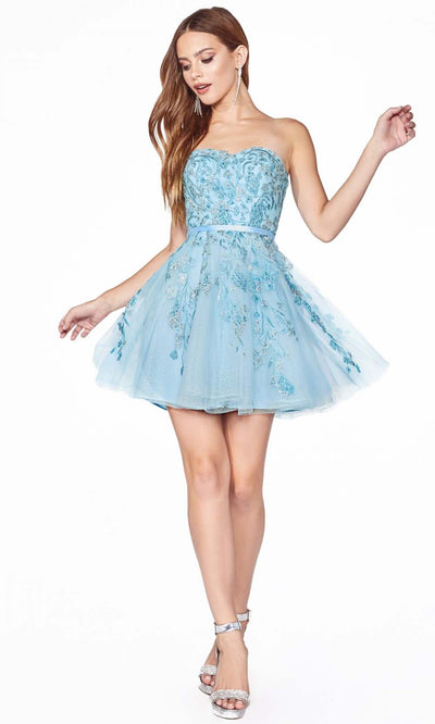 Cinderella Divine - KV1048 Strapless Beaded Cocktail Dress In Blue