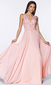 Cinderella Divine - UJ0123 Embellished Flowy Long Dress In Pink