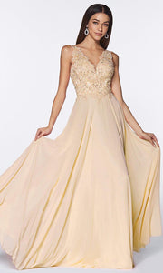 Cinderella Divine - UJ0123 Embellished Flowy Long Dress In Neutral