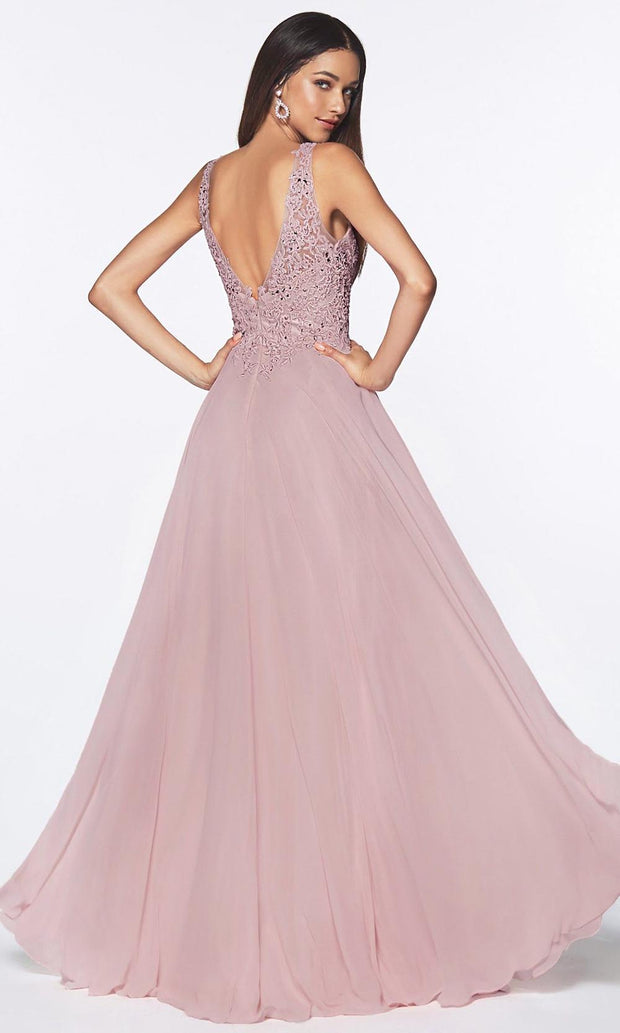 Cinderella Divine - UJ0123 Embellished Flowy Long Dress In Purple and Gray