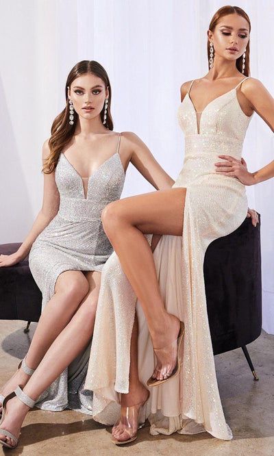 Cinderella Divine - CH199 V Neck Shimmering Dress In White and Silver