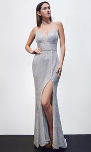Cinderella Divine - CH199 V Neck Shimmering Dress In Silver