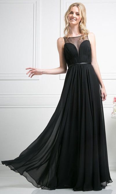 Cinderella Divine - 7458 Illusion Neckline Chiffon Gown In Black
