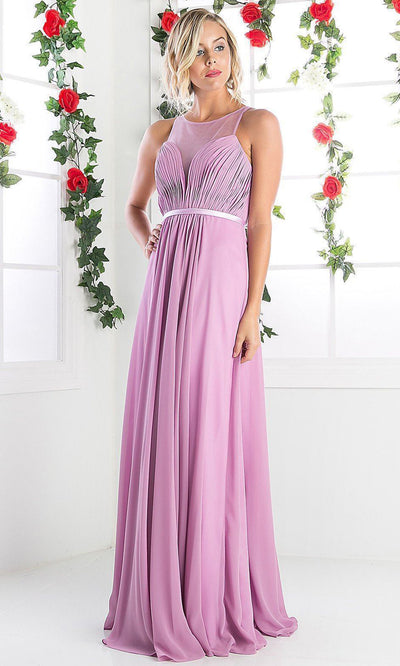 Cinderella Divine - 7458 Illusion Neckline Chiffon Gown In Purple