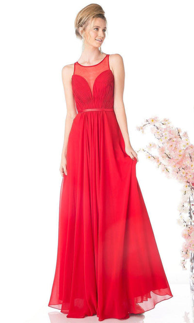Cinderella Divine - 7458 Illusion Neckline Chiffon Gown In Red