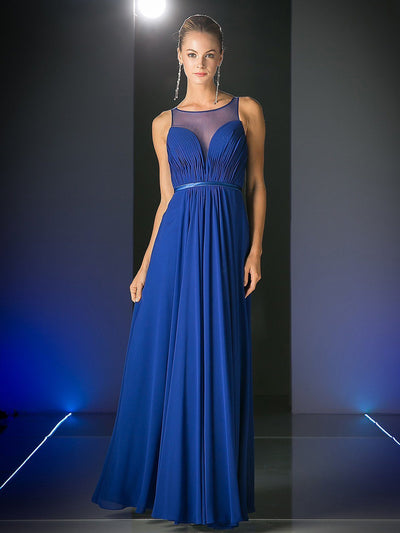 Cinderella Divine - 7458 Illusion Neckline Chiffon Gown In Blue