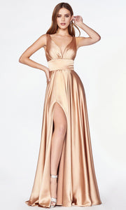 Cinderella Divine - 7469 V Neck Satin A-Line Dress In Gold