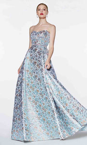 Cinderella Divine - KC19064 Metallic Brocade Gown In Blue