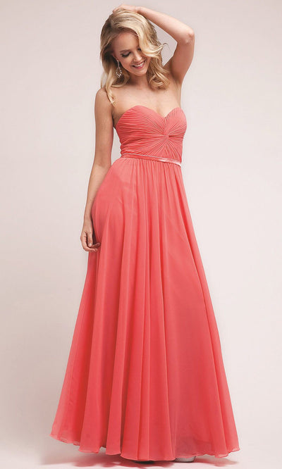 Cinderella Divine - 7455 Ruched Chiffon A-Line Dress In Orange