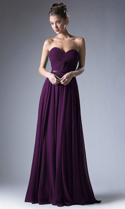 Cinderella Divine - 7455 Ruched Chiffon A-Line Dress In Purple