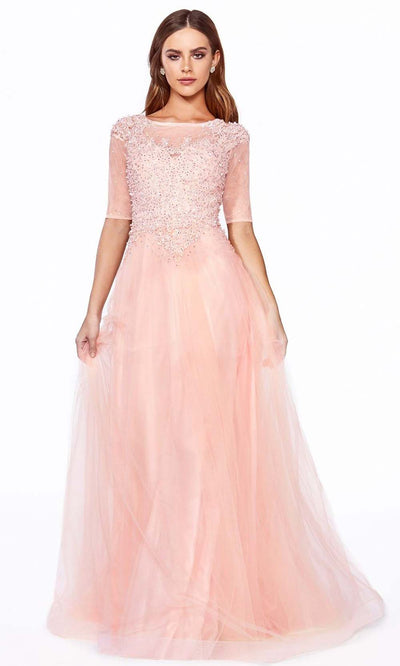 Cinderella Divine - U101 Bateau Neck Pearl Long Dress In Pink and Orange