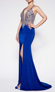 Cinderella Divine - ML927 Sleek And Sexy Trumpet Gown In Blue
