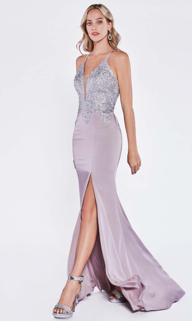 Cinderella Divine - ML927 Sleek And Sexy Trumpet Gown In Purple Gray and Silver