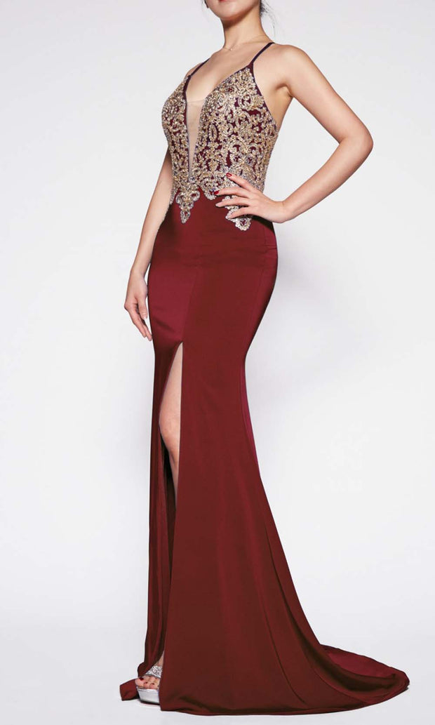Cinderella Divine - ML927 Sleek And Sexy Trumpet Gown In Red and Gold