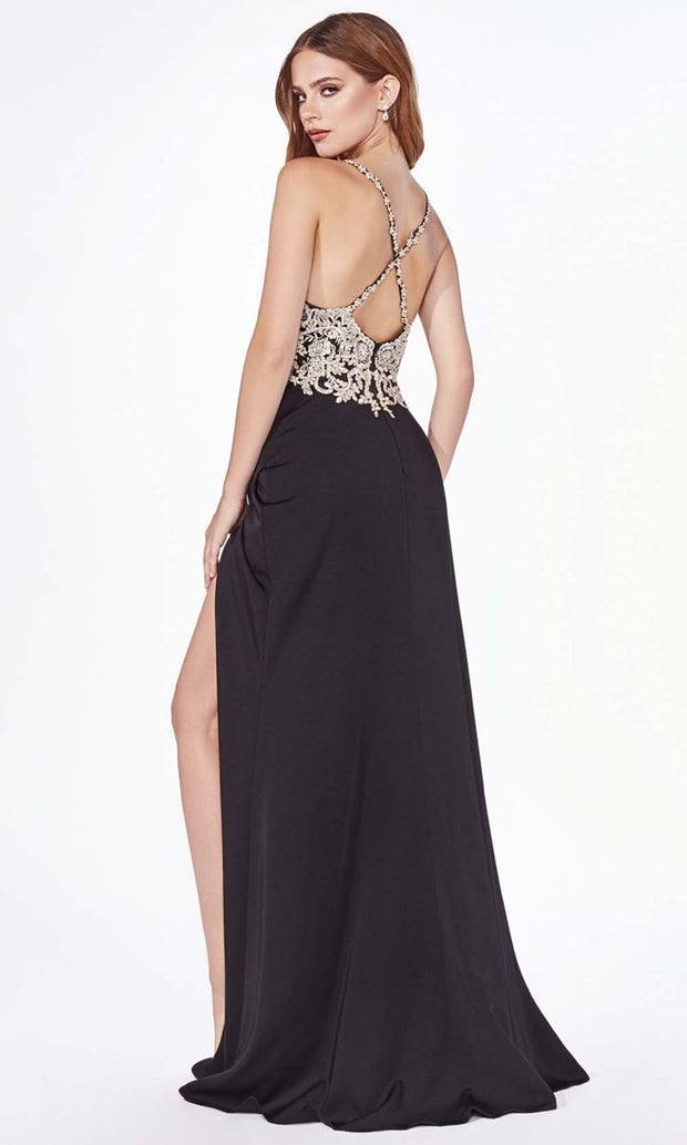 Cinderella Divine - ML940 Embellished Slit Column Gown In Black
