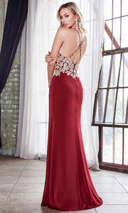 Cinderella Divine - ML940 Embellished Slit Column Gown In Red