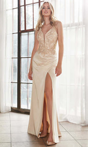 Cinderella Divine - ML940 Embellished Slit Column Gown In Neutral