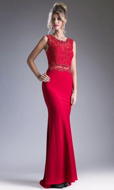 Cinderella Divine - CF115 Lace Jewel Trumpet Dress In Red