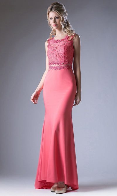 Cinderella Divine - CF115 Lace Jewel Trumpet Dress In Pink
