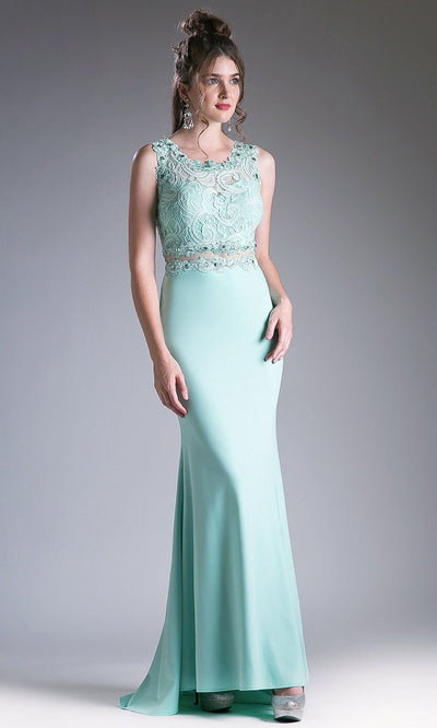 Cinderella Divine - CF115 Lace Jewel Trumpet Dress In Green