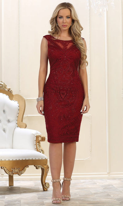 May Queen - MQ1541 Embroidered Short Formal Dress In Burgundy