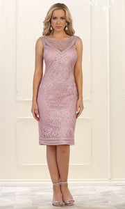 May Queen - MQ1541 Embroidered Short Formal Dress In Mauve