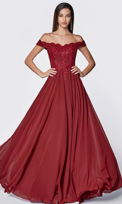 Cinderella Divine - 7258 Scallop Chiffon A-Line Gown In Red