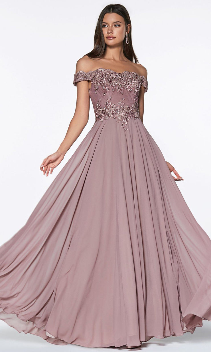 Cinderella Divine - 7258 Scallop Chiffon A-Line Gown In Brown