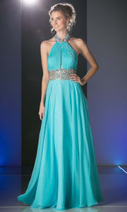 Cinderella Divine - PC905 High Halter Open Back Dress In Blue