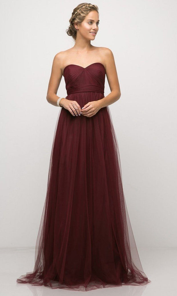 Cinderella Divine - ET322 Convertible Sweetheart Dress In Burgundy