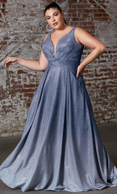 Cinderella Divine - 9174C V Neck Glittered Dress In Blue