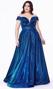 Cinderella Divine - CD210C Off Shoulder Metallic Dress