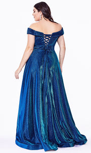 Cinderella Divine - CD210C Off Shoulder Metallic Dress In Blue