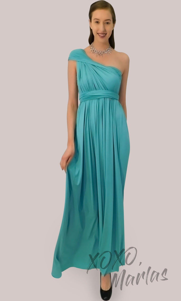 Long turquoise infinity bridesmaid dress or multiway dress or convertible dress.One dress worn in multiple ways.This blue green one size dress is great for bridesmaid, prom, destination wedding, gala, cheap western party dress, semi formal