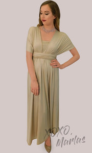 Long champagne gold infinity bridesmaid dress or multiway dress or convertible dress.One dress worn in multiple ways. This nude light yellow one size dress is perfect for bridesmaid, prom, destination wedding, gala, cheap western party dress, semi formal, cocktail