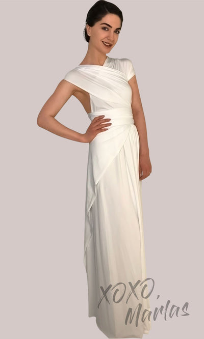 Long white infinity bridesmaid dress or multiway dress or convertible dress.One dress worn in multiple ways.This ivory one size dress is great for bridesmaid, prom, destination wedding, gala, cheap western party dress, semi formal