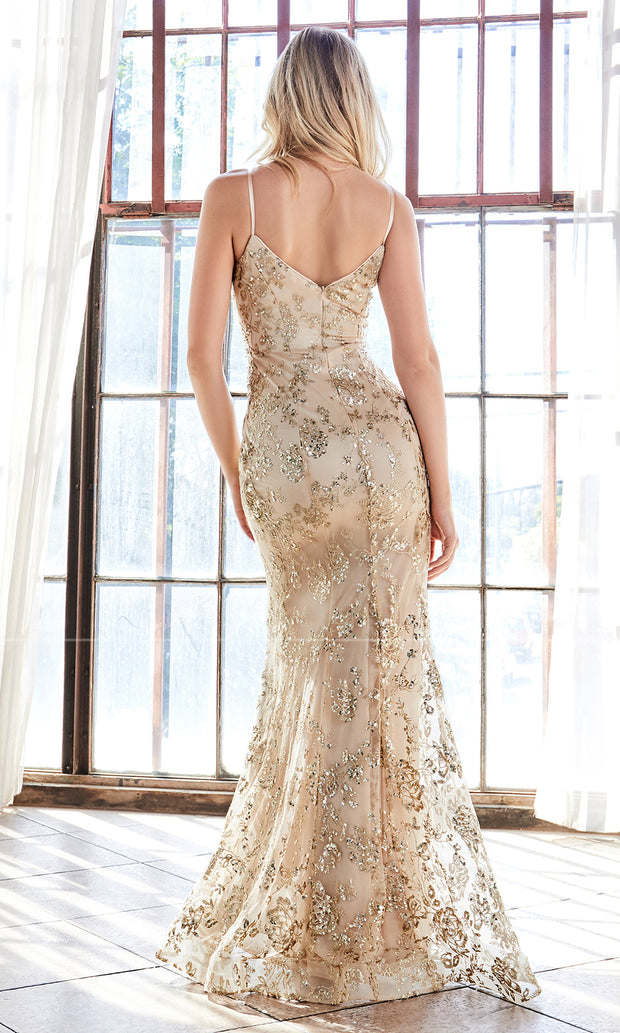 Cinderella Divine R2901 long gold sequin beaded mermaid dress