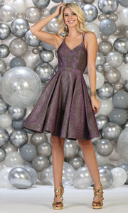May Queen - RQ7750 V Neck Glittered Cocktail Dress In Purple