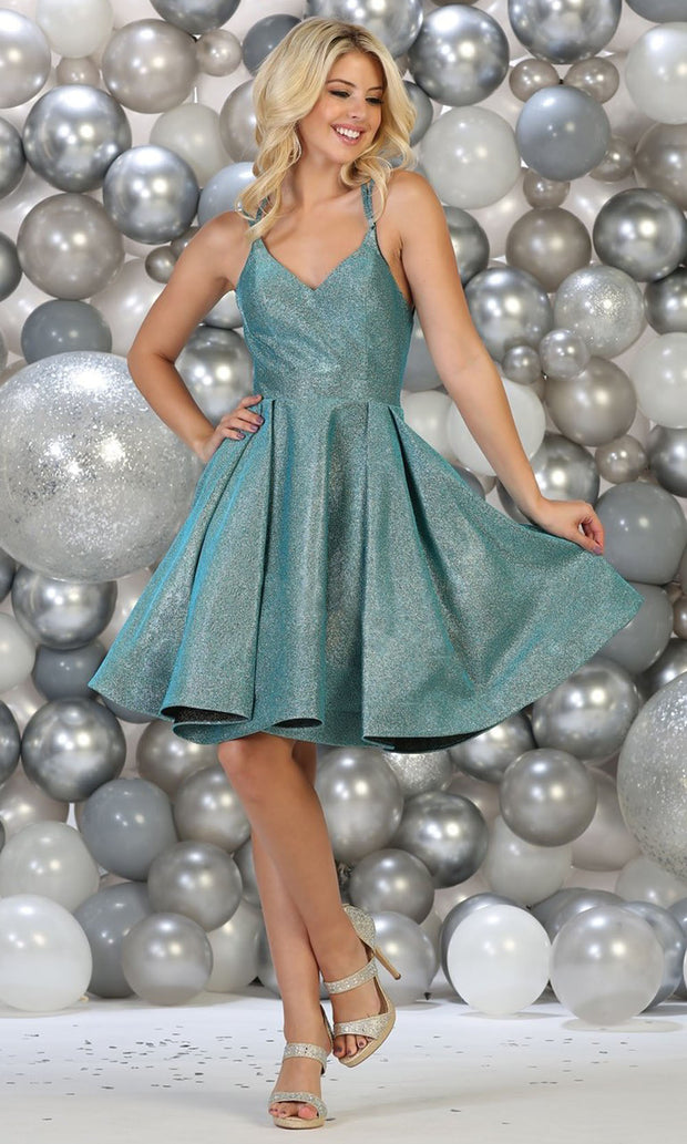 May Queen - RQ7750 V Neck Glittered Cocktail Dress In Blue
