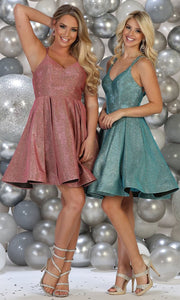 May Queen - RQ7750 V Neck Glittered Cocktail Dress In Pink and Blue
